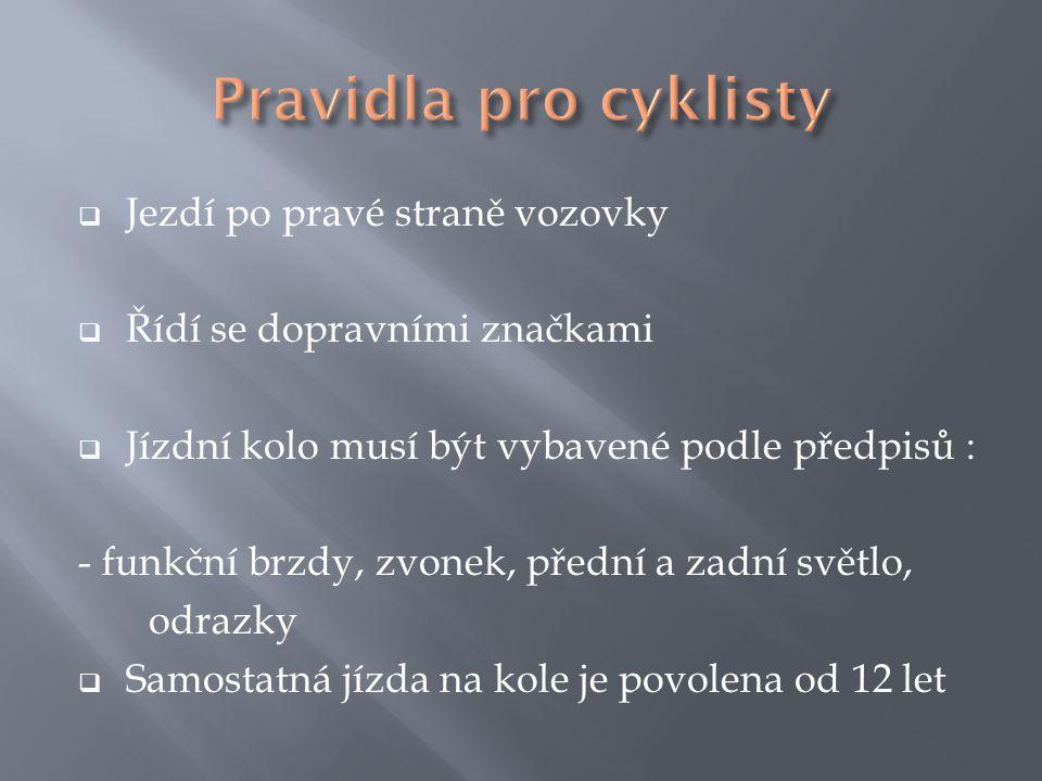 Pravidla pro cyklisty Jezdí po pravé straně vozovky