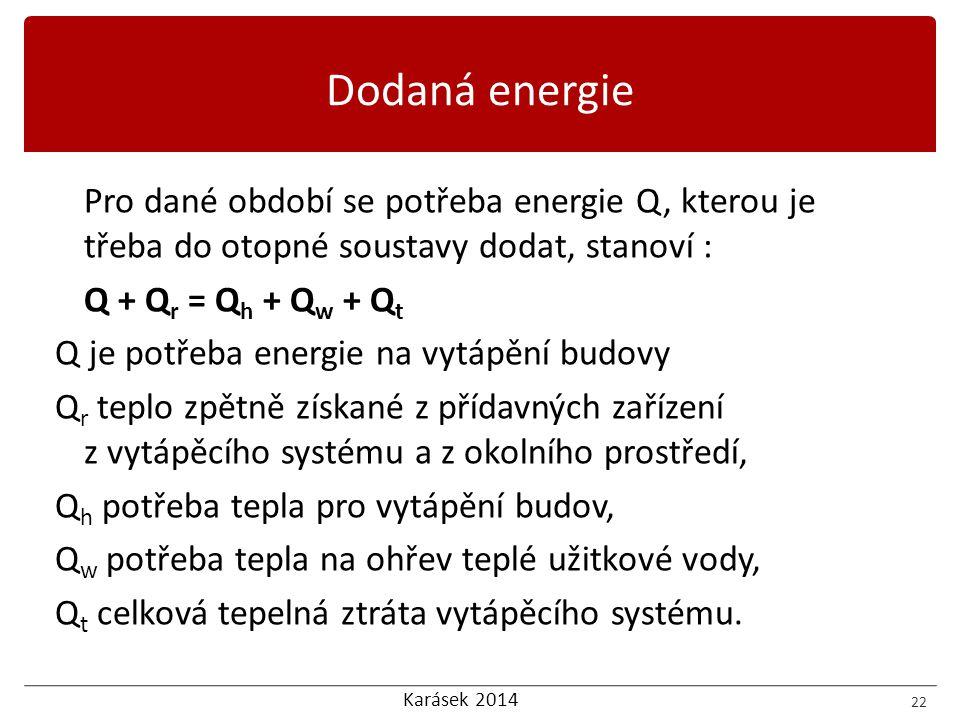 Dodaná energie Pro dané období se potřeba energie Q, kterou je třeba do otopné soustavy dodat, stanoví :