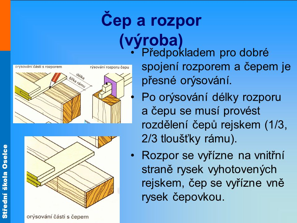 Čep a rozpor (výroba) Předpokladem pro dobré spojení rozporem a čepem je přesné orýsování.
