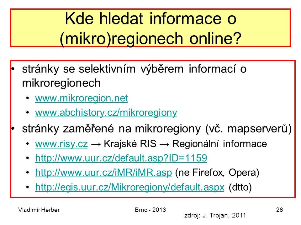 Kde hledat informace o (mikro)regionech online