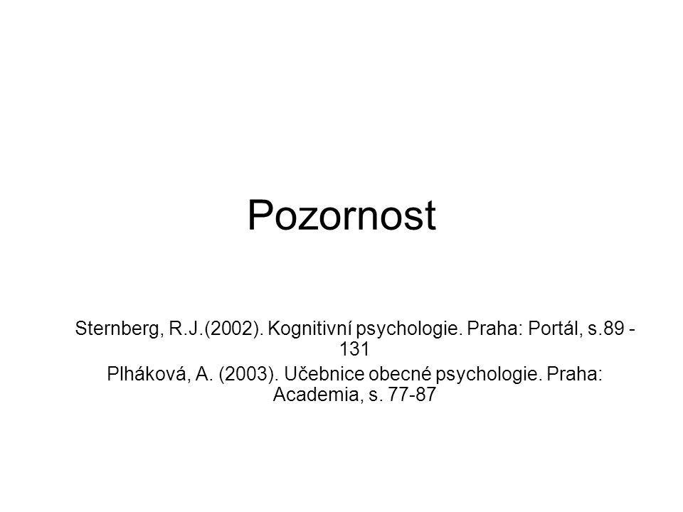Pozornost Sternberg, R.J.(2002). Kognitivní psychologie. Praha: Portál, s.89 - 131.
