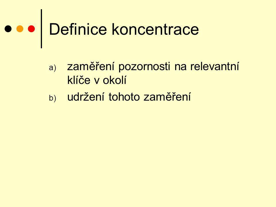 Definice koncentrace zaměření pozornosti na relevantní klíče v okolí