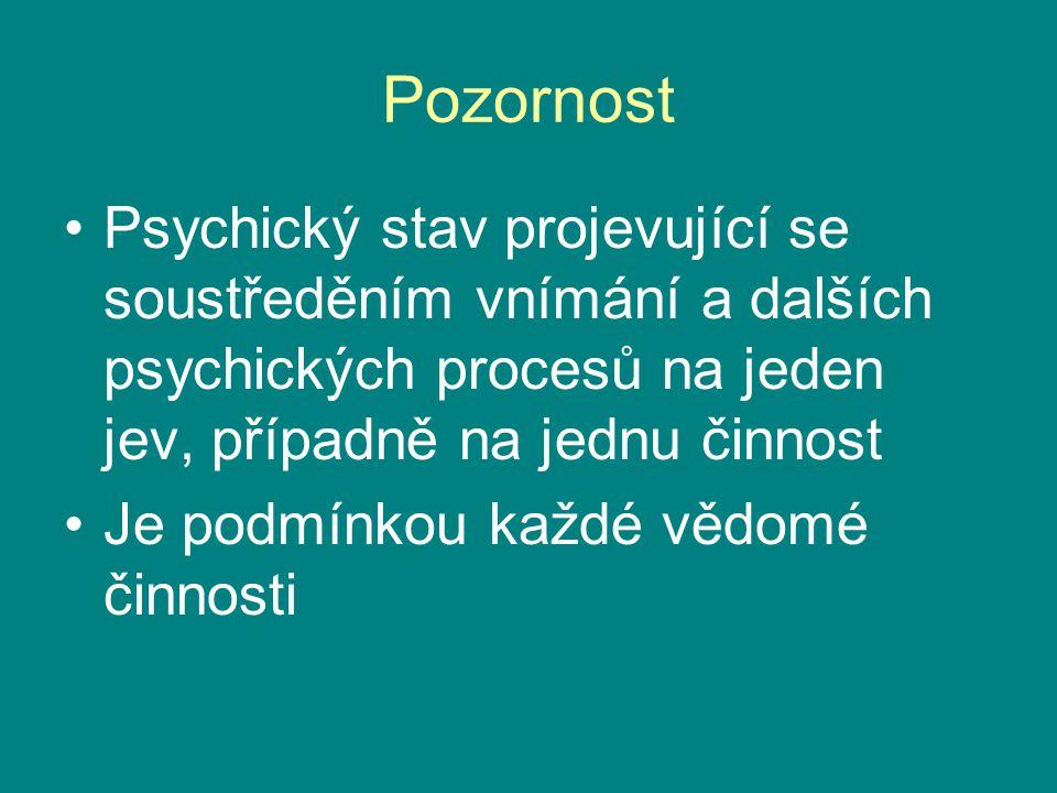 Pozornost Psychický stav projevující se soustředěním vnímání a dalších psychických procesů na jeden jev, případně na jednu činnost.