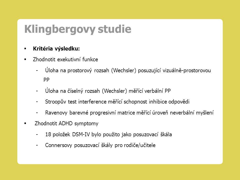 Klingbergovy studie Kritéria výsledku: Zhodnotit exekutivní funkce