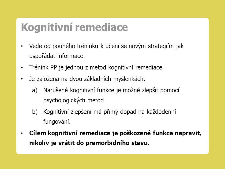 Kognitivní remediace Vede od pouhého tréninku k učení se novým strategiím jak uspořádat informace.