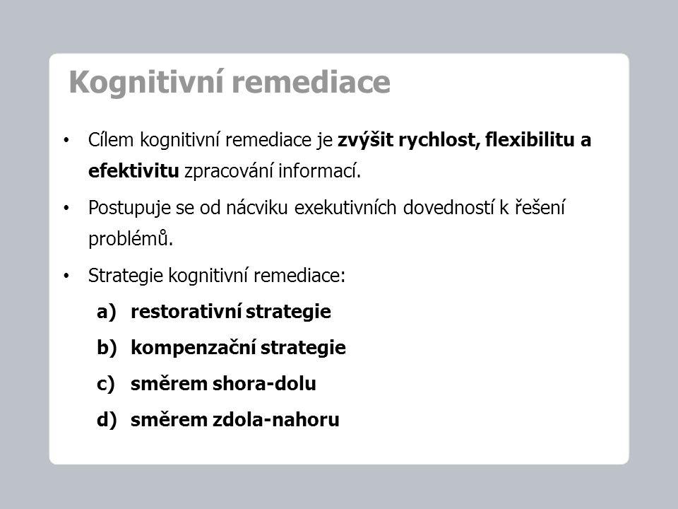 Kognitivní remediace Cílem kognitivní remediace je zvýšit rychlost, flexibilitu a efektivitu zpracování informací.