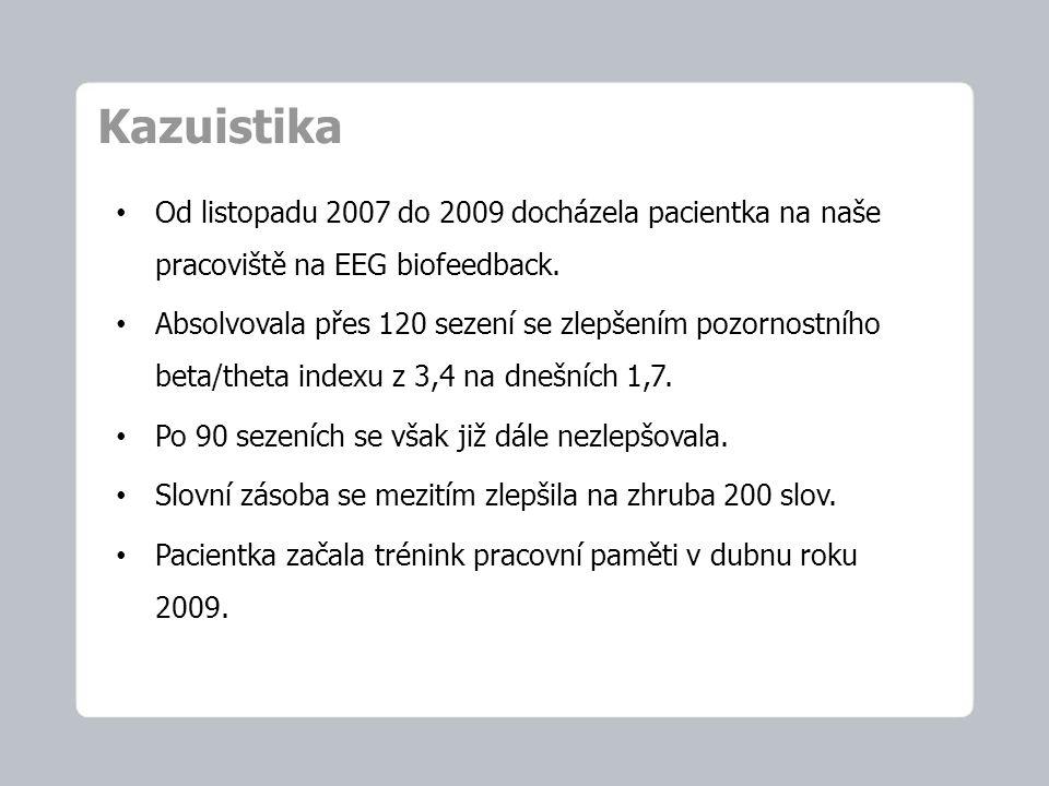 Kazuistika Od listopadu 2007 do 2009 docházela pacientka na naše pracoviště na EEG biofeedback.
