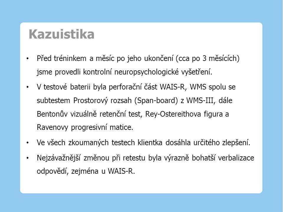 Kazuistika Před tréninkem a měsíc po jeho ukončení (cca po 3 měsících) jsme provedli kontrolní neuropsychologické vyšetření.
