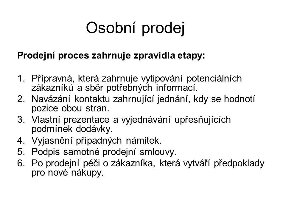 Osobní prodej Prodejní proces zahrnuje zpravidla etapy:
