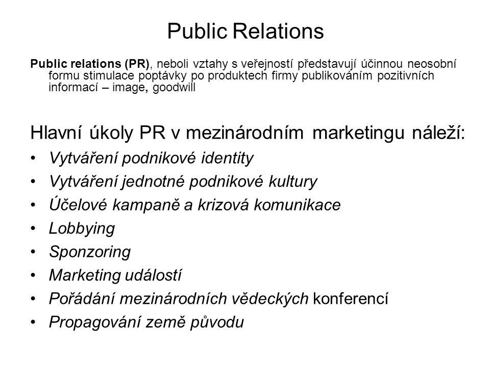 Public Relations Hlavní úkoly PR v mezinárodním marketingu náleží: