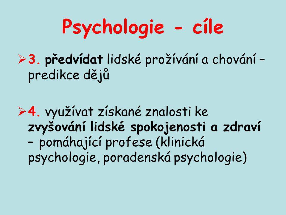 Psychologie - cíle 3. předvídat lidské prožívání a chování – predikce dějů.