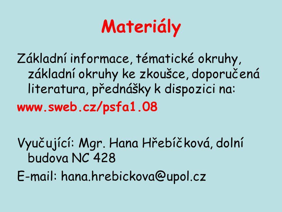 Materiály Základní informace, tématické okruhy, základní okruhy ke zkoušce, doporučená literatura, přednášky k dispozici na: