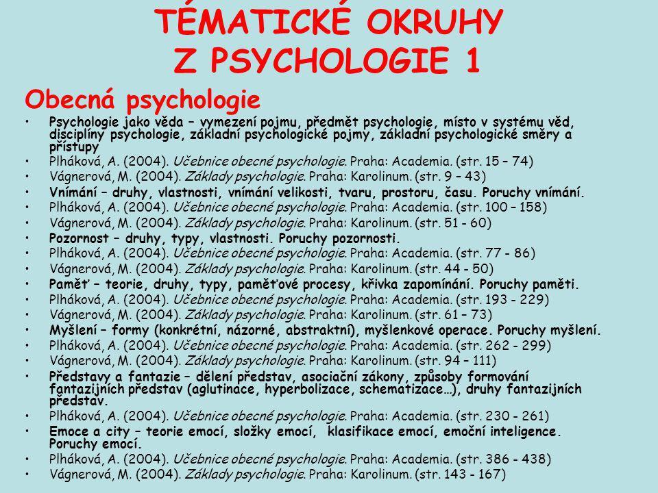TÉMATICKÉ OKRUHY Z PSYCHOLOGIE 1