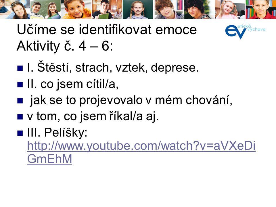 Učíme se identifikovat emoce Aktivity č. 4 – 6: