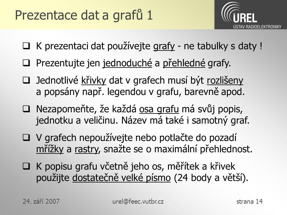 Prezentace dat a grafů 1 K prezentaci dat používejte grafy - ne tabulky s daty ! Prezentujte jen jednoduché a přehledné grafy.