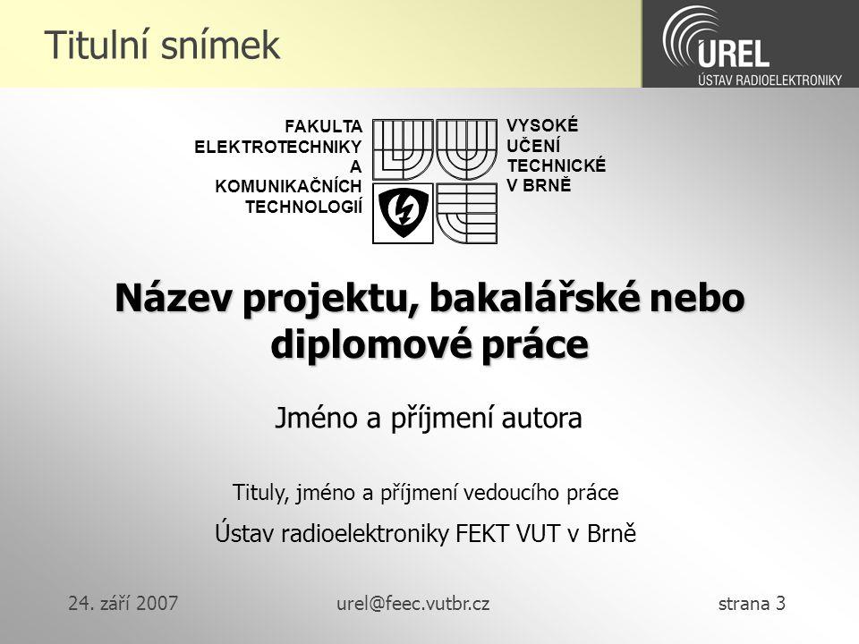 Název projektu, bakalářské nebo diplomové práce