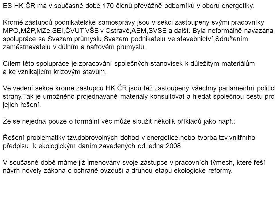 ES HK ČR má v současné době 170 členů,převážně odborníků v oboru energetiky.