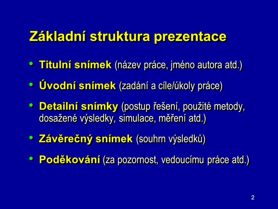 Základní struktura prezentace