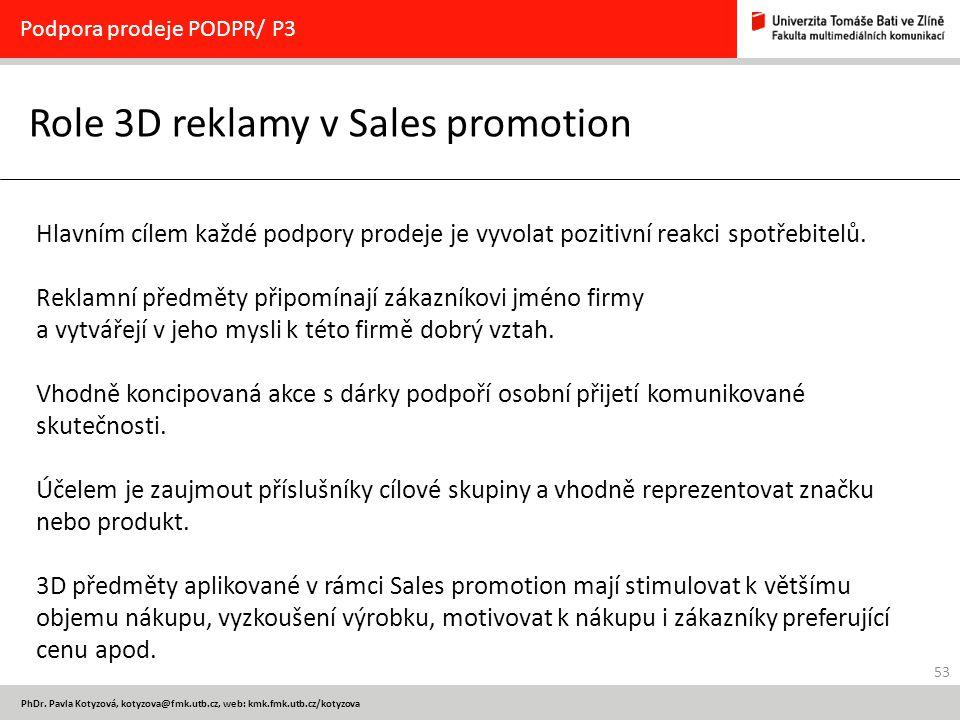 Role 3D reklamy v Sales promotion