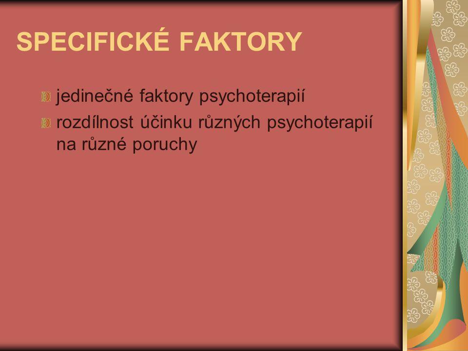 SPECIFICKÉ FAKTORY jedinečné faktory psychoterapií