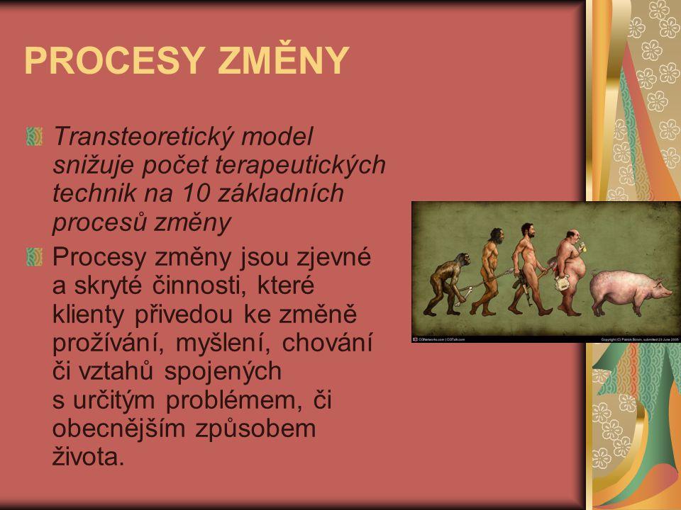 PROCESY ZMĚNY Transteoretický model snižuje počet terapeutických technik na 10 základních procesů změny.