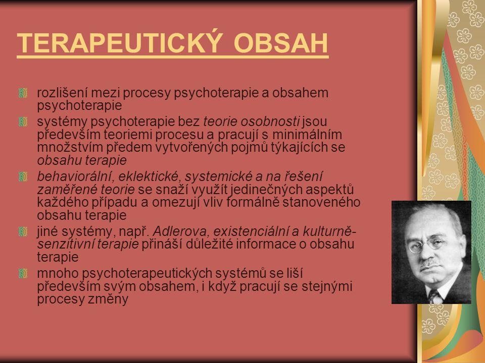 TERAPEUTICKÝ OBSAH rozlišení mezi procesy psychoterapie a obsahem psychoterapie.