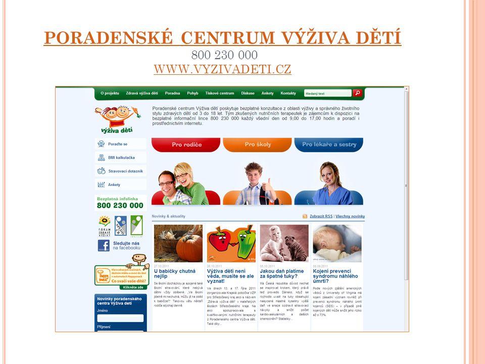 PORADENSKÉ CENTRUM VÝŽIVA DĚTÍ 800 230 000 WWW.VYZIVADETI.CZ