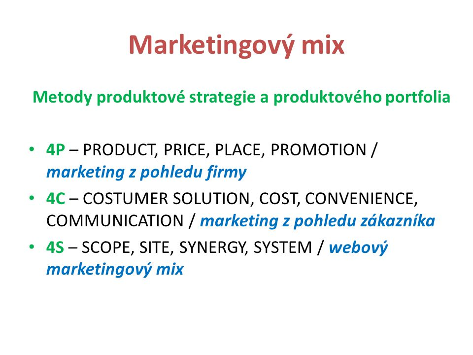 Metody produktové strategie a produktového portfolia