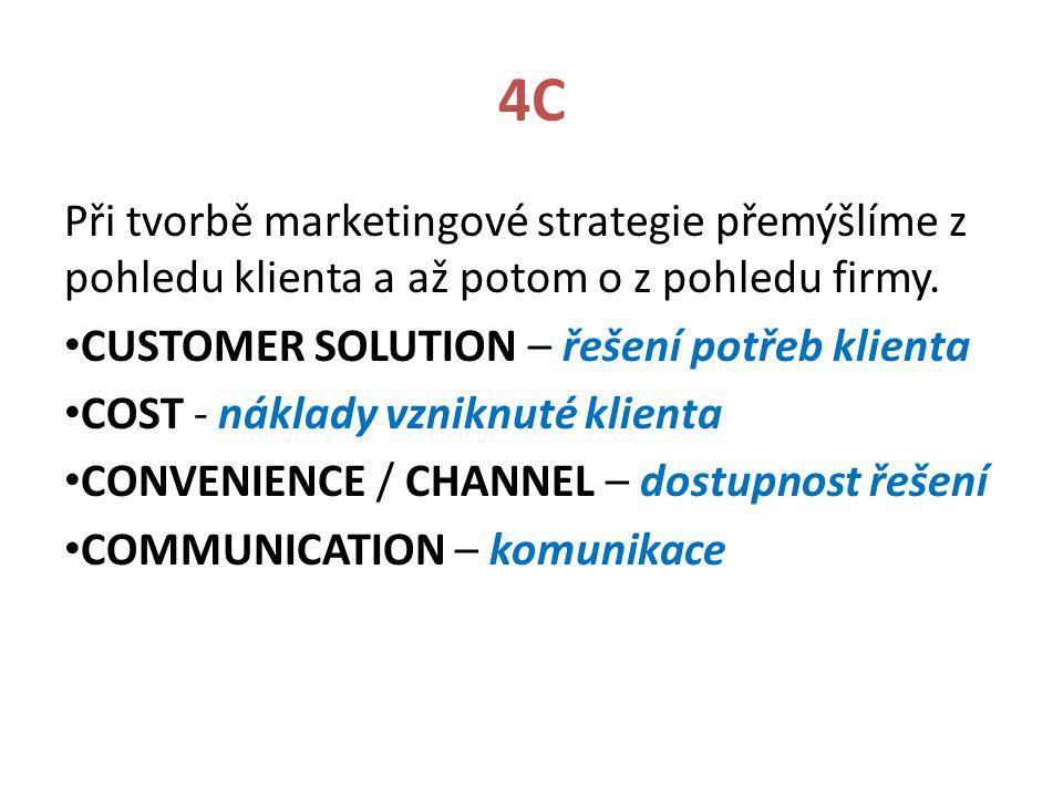 4C Při tvorbě marketingové strategie přemýšlíme z pohledu klienta a až potom o z pohledu firmy. CUSTOMER SOLUTION – řešení potřeb klienta.