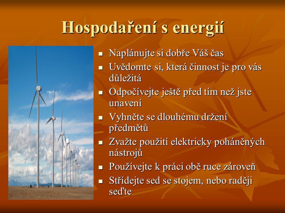 Hospodaření s energií Naplánujte si dobře Váš čas