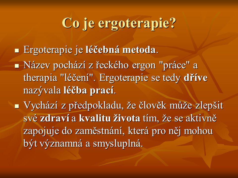 Co je ergoterapie Ergoterapie je léčebná metoda.