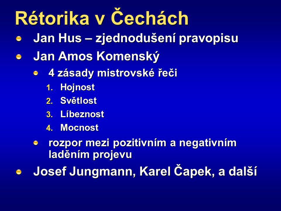 Rétorika v Čechách Jan Hus – zjednodušení pravopisu Jan Amos Komenský