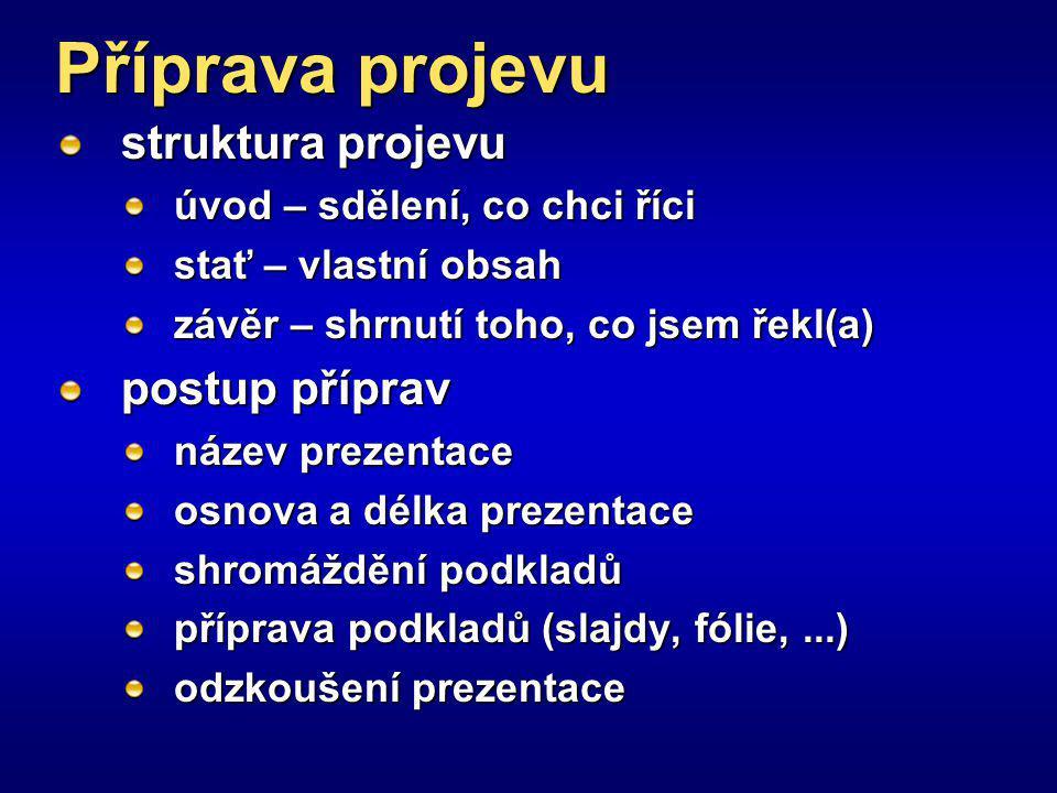 Příprava projevu struktura projevu postup příprav