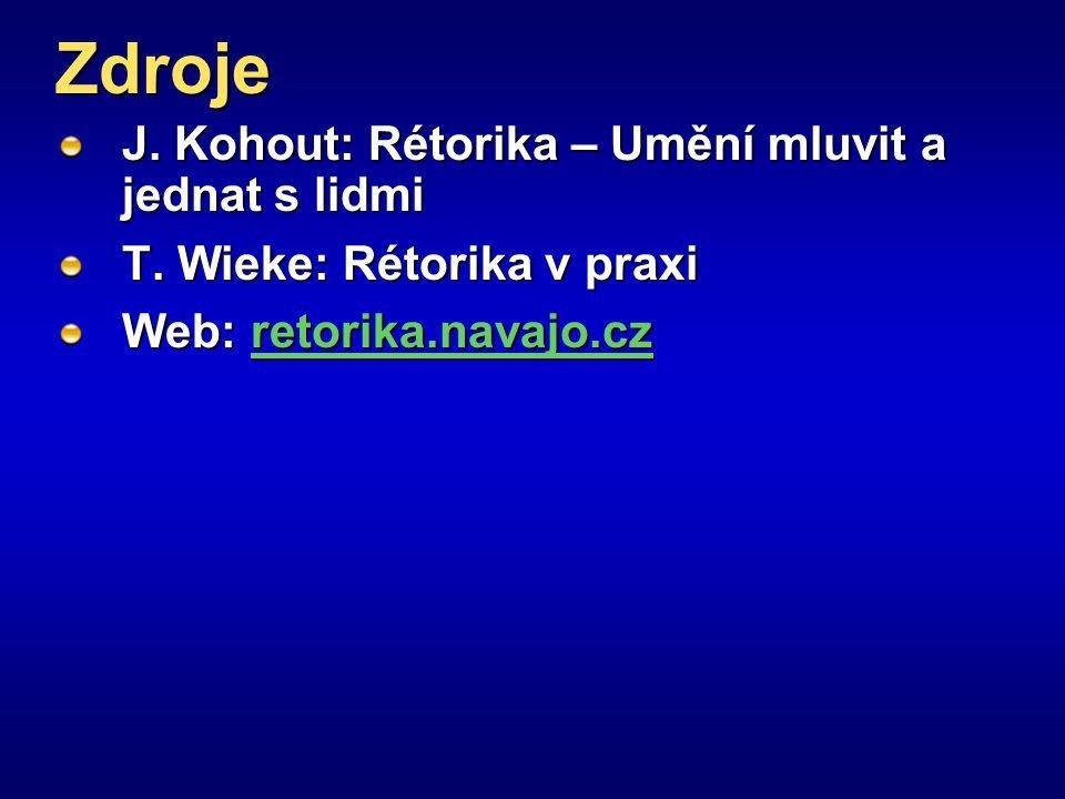 Zdroje J. Kohout: Rétorika – Umění mluvit a jednat s lidmi