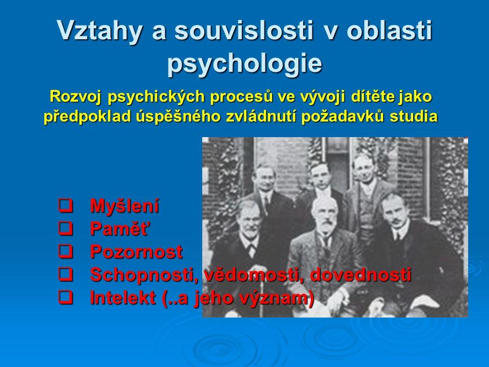 Vztahy a souvislosti v oblasti psychologie