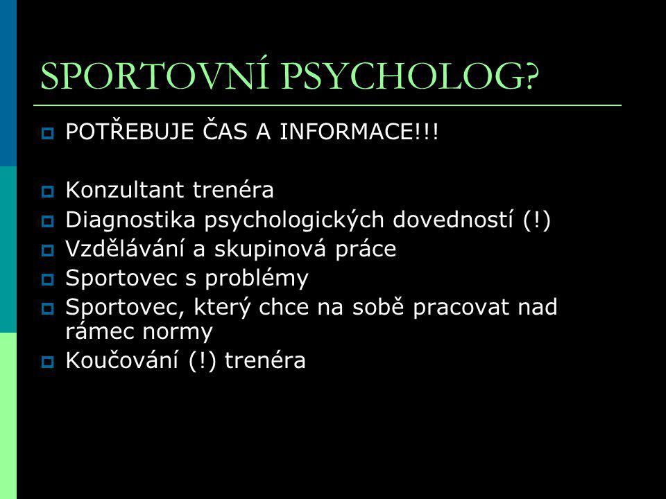 SPORTOVNÍ PSYCHOLOG POTŘEBUJE ČAS A INFORMACE!!! Konzultant trenéra