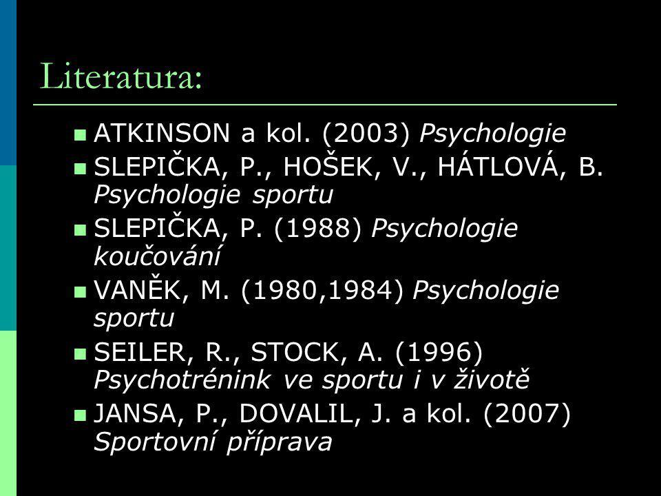 Literatura: ATKINSON a kol. (2003) Psychologie