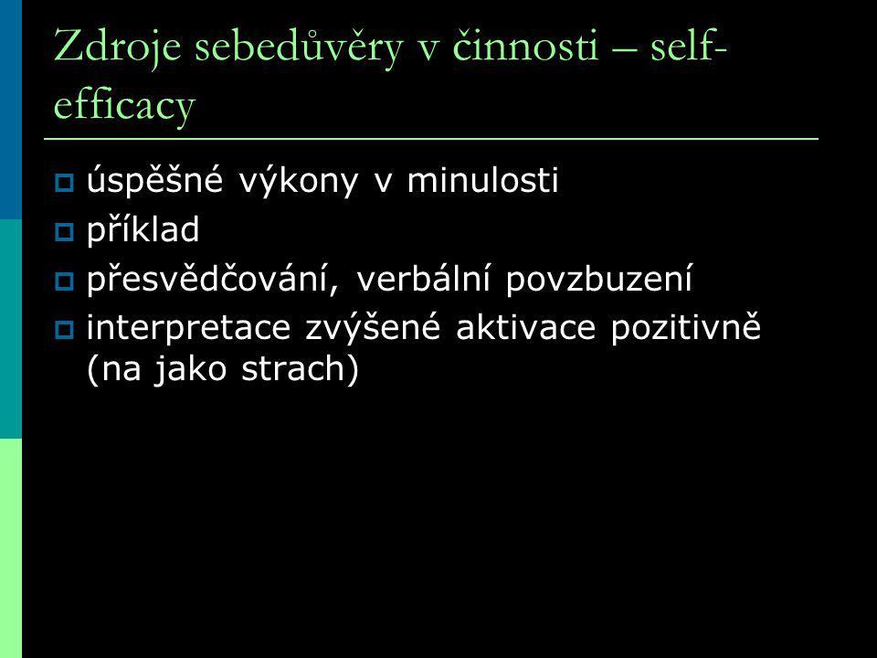 Zdroje sebedůvěry v činnosti – self-efficacy