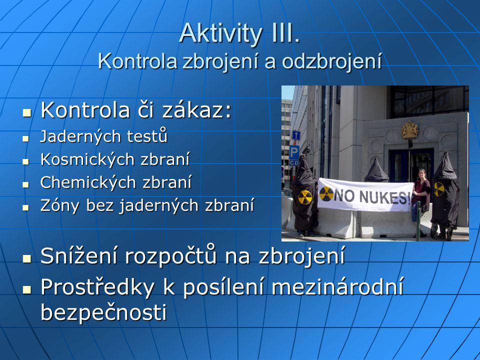 Aktivity III. Kontrola zbrojení a odzbrojení