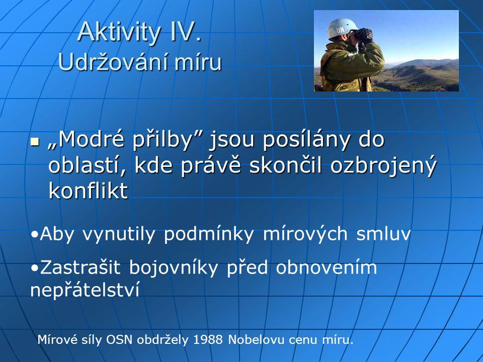 Aktivity IV. Udržování míru