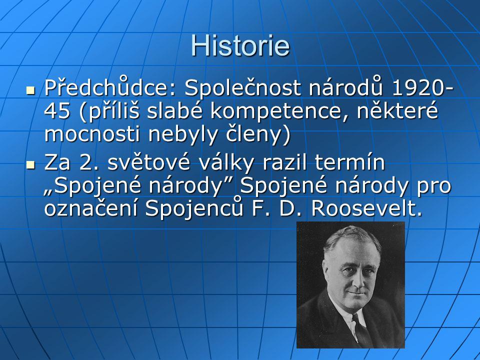 Historie Předchůdce: Společnost národů 1920-45 (příliš slabé kompetence, některé mocnosti nebyly členy)
