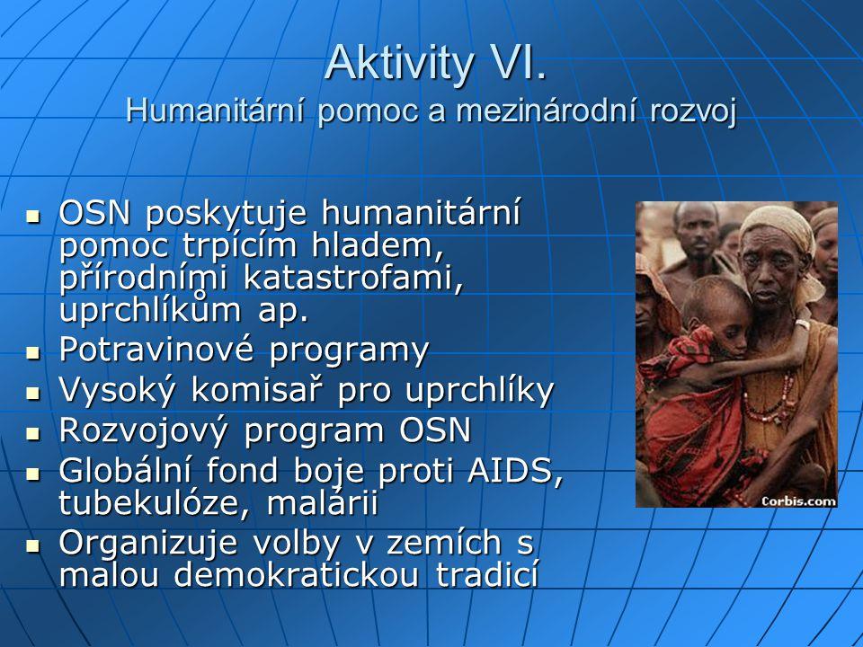 Aktivity VI. Humanitární pomoc a mezinárodní rozvoj