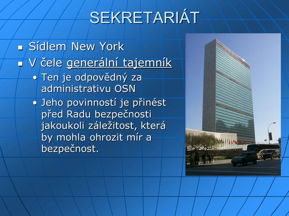 SEKRETARIÁT Sídlem New York V čele generální tajemník