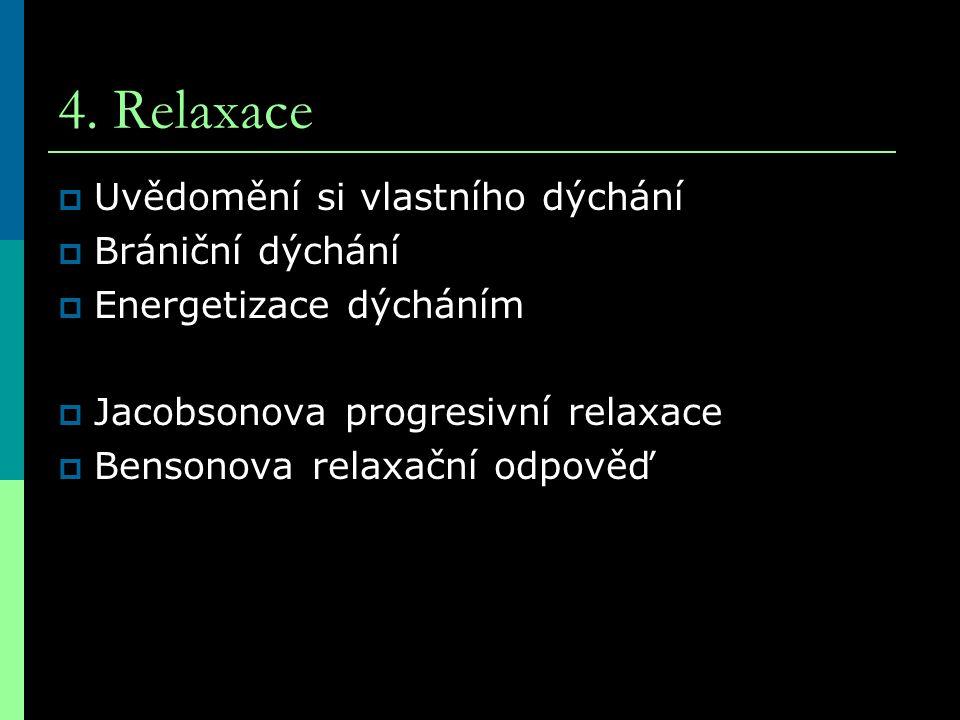 4. Relaxace Uvědomění si vlastního dýchání Brániční dýchání