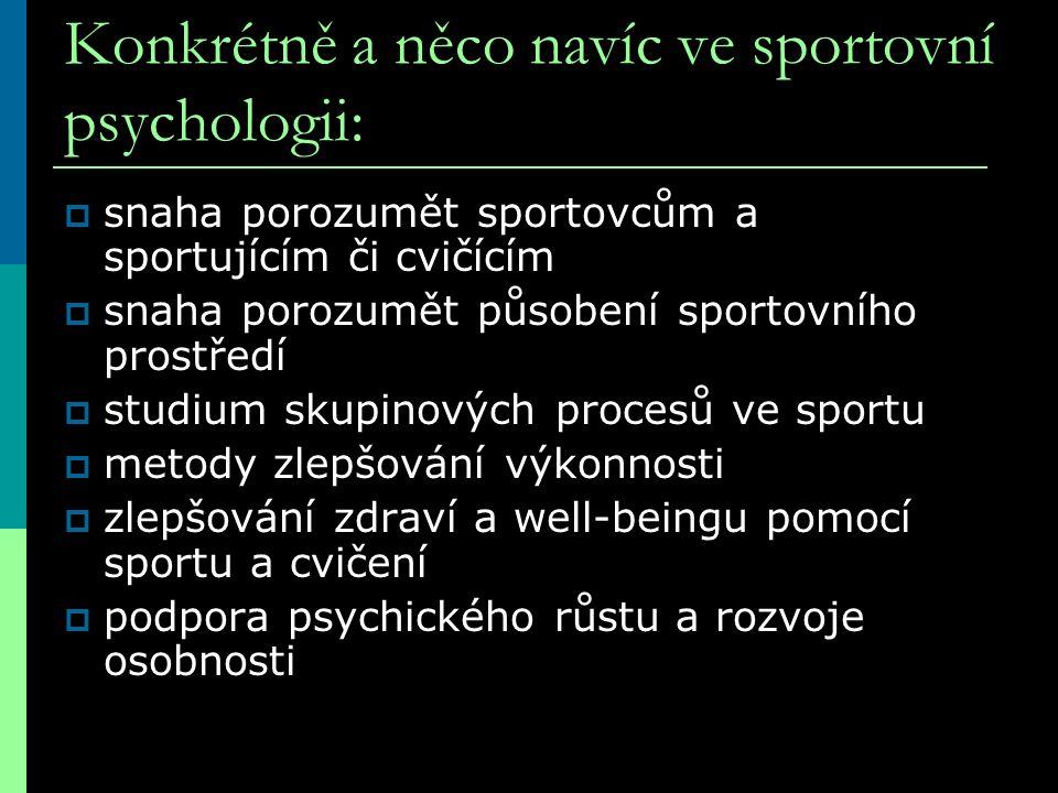 Konkrétně a něco navíc ve sportovní psychologii: