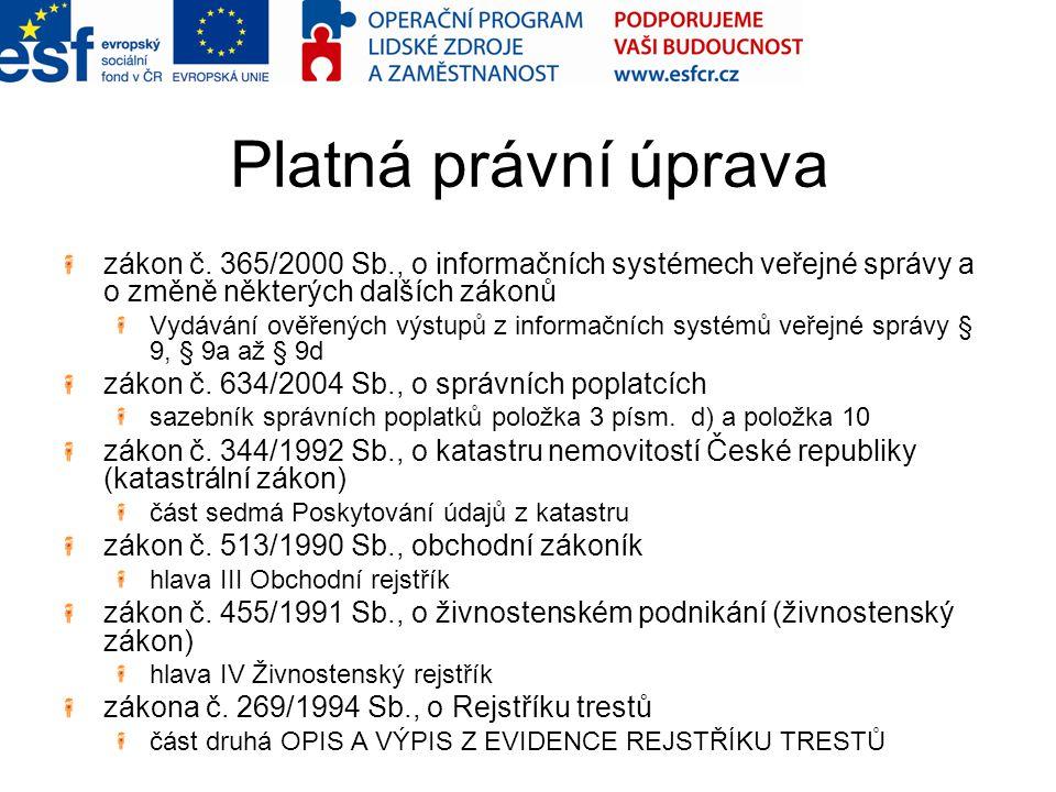 Platná právní úprava zákon č. 365/2000 Sb., o informačních systémech veřejné správy a o změně některých dalších zákonů.
