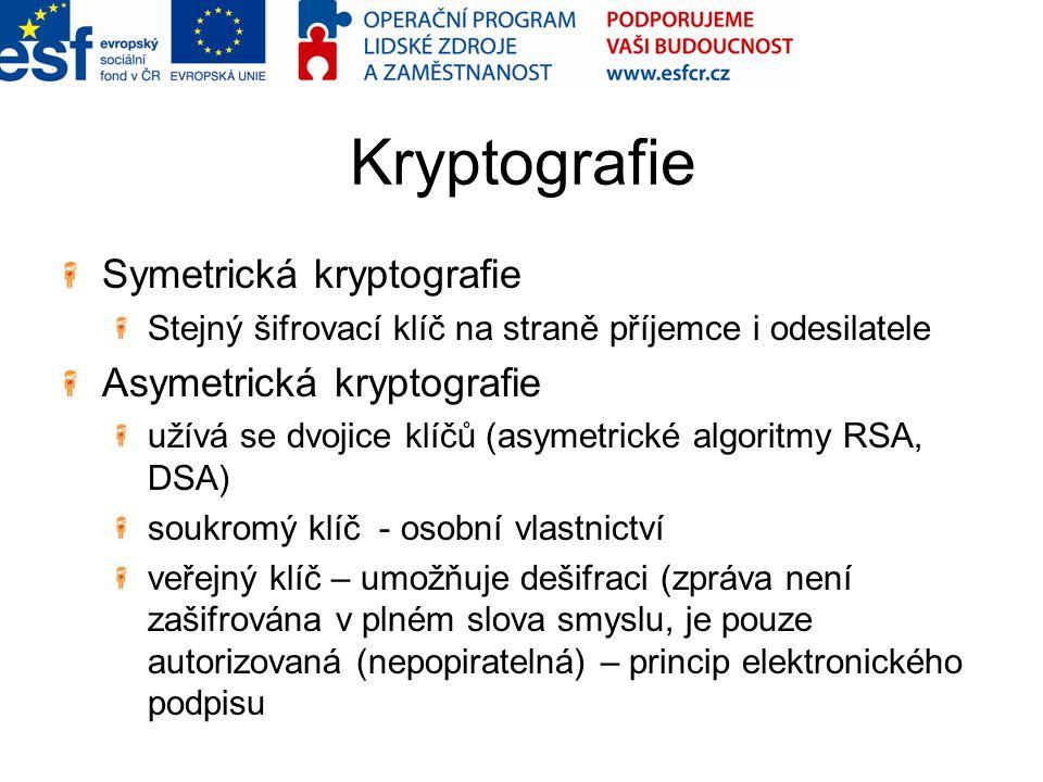 Kryptografie Symetrická kryptografie Asymetrická kryptografie