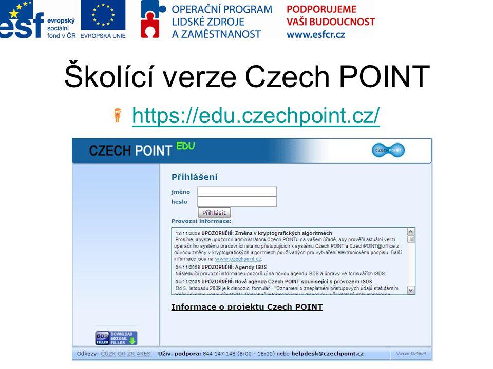 Školící verze Czech POINT
