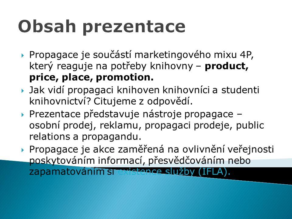 Obsah prezentace Propagace je součástí marketingového mixu 4P, který reaguje na potřeby knihovny – product, price, place, promotion.
