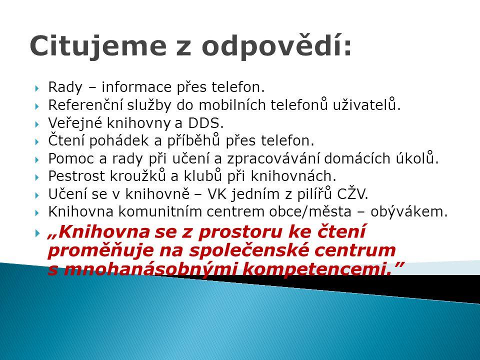 Citujeme z odpovědí: Rady – informace přes telefon. Referenční služby do mobilních telefonů uživatelů.